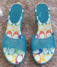 COACH A613 Nichelle Turquoise Blue Jelly Kitten Heel Slip-On  Shoes 71/2M  EUC