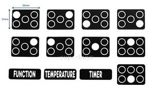 8 White Print Flame Anti-Clockwise Gas Hob Oven Stove Knob Switch Sticker Label