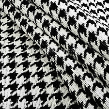 10 Metres Of New Black White Dog Tooth Geometric Pattern Soft Upholstery Fabric