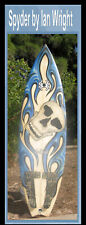Surfboard Spyder Brand 3 fin Signed by Shaper Ian Wright Skull Face Blue Flames