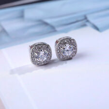 Luxury Round CZ Cut White Square Stud Earring 925 Silver For Women Wedding Gifts