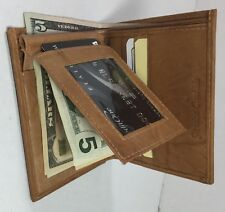 BRAND NEW MEN TAN FLIP FOLD WALLET COWHIDE LEATHER WITH MONEY CLIP
