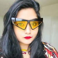 Womens Unique Funky Retro 70s Style Black Frame Cat Eye Sunglasses