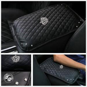 Universal PU Leather+Crystal Car SUV Center Console Armrest Arm Rest Cushion Pad