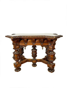 Heavily Carved French Display Table, Foyer Table, 19th Century, Oak #11579