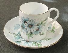 Royal Albert England Bone China Blue Daisy Demitasse Espresso Cup & Saucer EUC