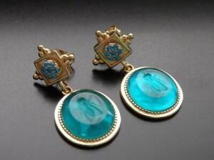 TAGLIAMONTE Earrings YGP/SS 'Bee' laguna Venetian Intaglio+MOP+Topaz**Gorgeous
