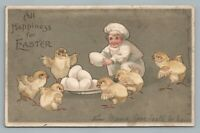 Chef Boy w Easter Chicks & Eggs—Antique International Art UDB Postcard 1907
