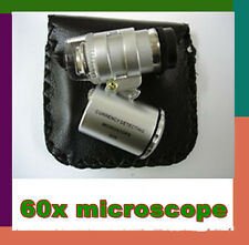 NEW Mini 60x Handheld Microscope Loupe Jeweler Magnifier With LED Light Glass @1