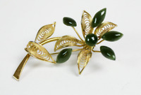 Vintage Gold Plated Jade Flower Brooch 1970s