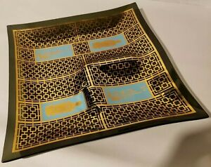 """Mid-Century Modern 12"""" Glass Chip or Snack Dish w/ Asian Design"""