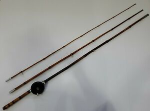 Vintage Blue Streak Japanese Bamboo Fishing Rod Pole Japan 11 Foot with reel