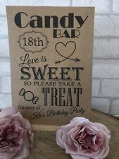 18th Personalised 18 Sweet Table Candy Bar Birthday Party Sign Kraft/White