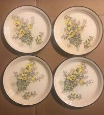 """ARKLOW Honey Stone 4PC~ BONNIE BLOOM~ Bisque Salad Plates #8169  7 1/2"""" Día."""