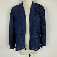 Tree of Life Women's Blue Flocked Jacket Top M A11-09