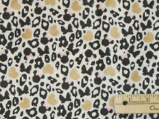 Minnie Mouse Ears Leopard Print Black & Gold Fabric by the 1/2 Yard  #85270202