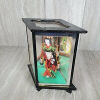 Vintage Japanese Porcelain Geisha Doll in Glass Display Case