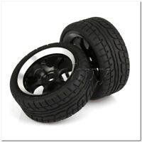 4 x RC 1:10 On-Road Car Plastic Drift Tire Sets & Black Alloy 7-Spoke Wheel Rim
