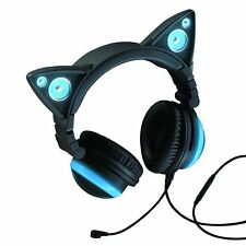 Brookstone Wired Cat Ear Headphones Blue NEW w/ Carry Case