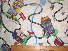 """Cotton Fabric - """"Row by Row"""" Street Map of  Quilt Locations --Timeless Treasure"""