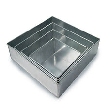 "4 TIER HEAVY DUTY SQUARE CHRISTMAS CAKE TINS 6"" 8"" 10"" 12"" (4"" Deep)"