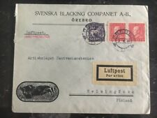 1926 Orebro Sweden Commercial Cover To Helsinki Finland Lufpost