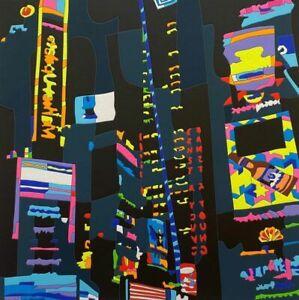 Ugo Nespolo 50x50cm città notturna New York serigrafia arte contemporanea