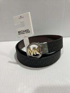 MICHAEL KORS Women's Leather Belt Twist Reversible Round Buckle BLACK /BROWN  XL