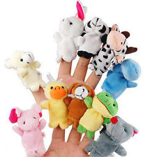 10 x Family Finger Puppets Cloth Doll Baby Educational Hand Cartoon Animal Toys