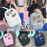 Girls Womens Canvas Rose Shoulder Backpack Schoolbag Rucksack Travel College Bag