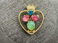 Vintage Early Coro Heart Crown Brooch Pin Sweetheart Rhinestone Jelly Belly