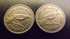 NEW ZEALAND 1957 SIXPENCE BOTH VARIETY WITH AND WITHOUT SHOULDER STRAP