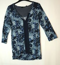 NAVY BLUE LADIES CASUAL STRETCH FLORAL TOP BLOUSE NEXT SIZE 6
