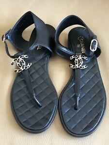 Chanel 17K Black Lambskin Gold Logo Thong Sandals 38 1/2 BNIB