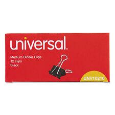 "UNIVERSAL Medium Binder Clips 5/8"" Capacity 1 1/4"" Wide Black 12/Box 10210"