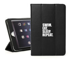 For iPad 2 3 4 5 Air Mini Pro Leather Smart Case Cover Swim Eat Sleep Repeat