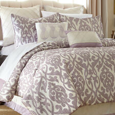 Queen Elegant Lavender Purple Filigree Ivory 8 Pc Comforter Pillow Bedding Set