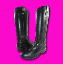 FRYE 77617 'Melissa Button' Black Leather Pull On Equestrian Riding Boots Sz 7 B