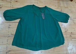 Womens Belle Curve Green Blouse Top Shirt Size 26+ *BNWT*