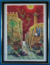 Vintage Jewish Hebrew Calligraphy AP Edition Lithograph Artist Signed Framed