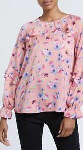 Dunnes Ladies Pink / Blue Top Blouse Floral Frill Sleeves Long Sleeve Ruffle