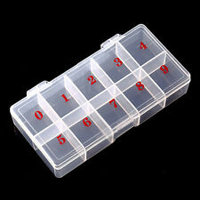 Empty Numbered Storage Case Box 10 Cells for Nail Art Tips Pieces Container