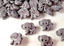 5 Kinderknöpfe grauer Elefant mit weissen Stosszähnen