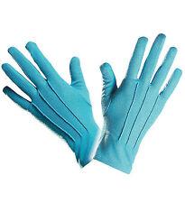 SHORT BRIGHT BLUE GLOVES SMURF CLOWN FANCY DRESS ACCESSORY UNISEX