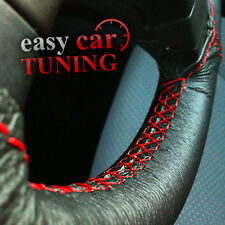 FOR FIAT DUCATO 06+  BLACK GENUINE REAL LEATHER STEERING WHEEL COVER RED ST