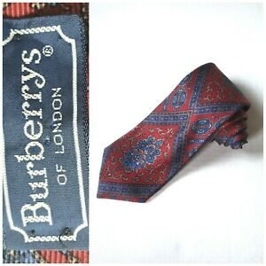 BURBERRY LONDON Red and Blue Paisley English Silk Tie Made in Italy