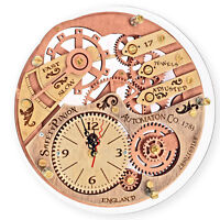 Skeleton 1733 transparent back unique vintage wooden wall clock, personalized