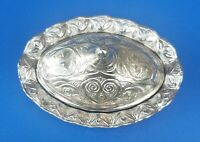 Vintage Silver Tone Trinket Jewelry Oval Holder