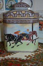 "Gorgeous~Rare Nippon Moriage 7"" Humidor Sports Horse Racing Scene mark#47"