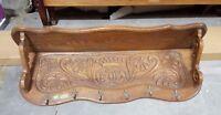 Fancy Antique French Carved Oak Coat Rack Hall Shelf Rack